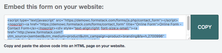 FormStack form tracking