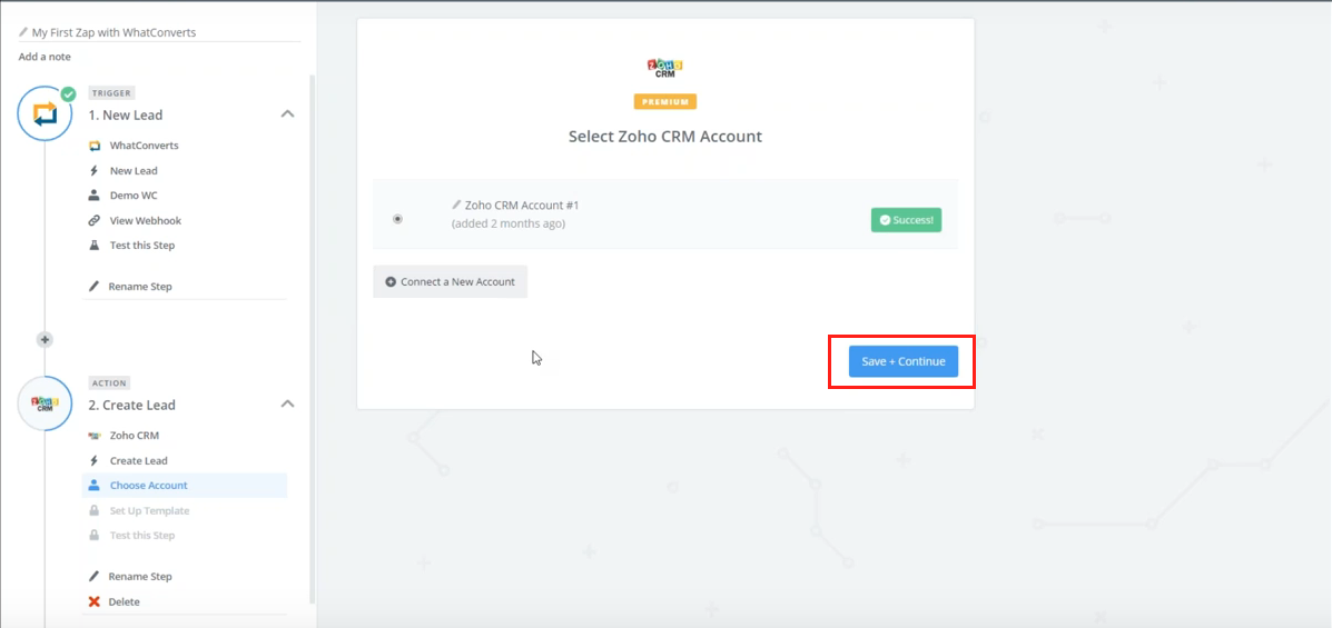 Save and Continue to set up Zoho CRM template in Zapier