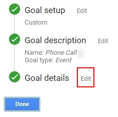 Call Tracking Goal Details