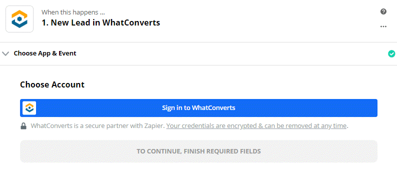 Sign in to WhatConverts