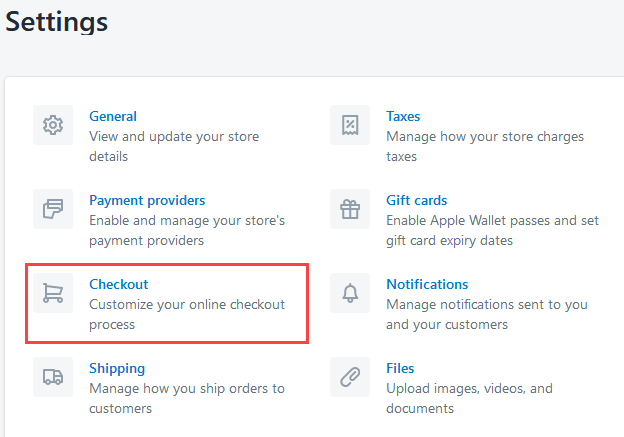 Checkout Settings of a Shopify Page