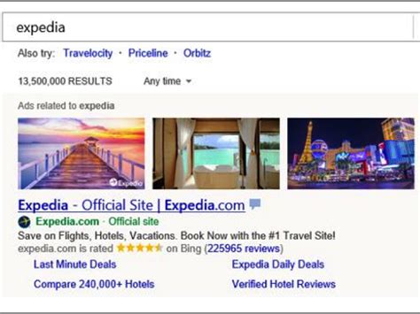 Expedia Image for Bing Ads conversion rate improvement