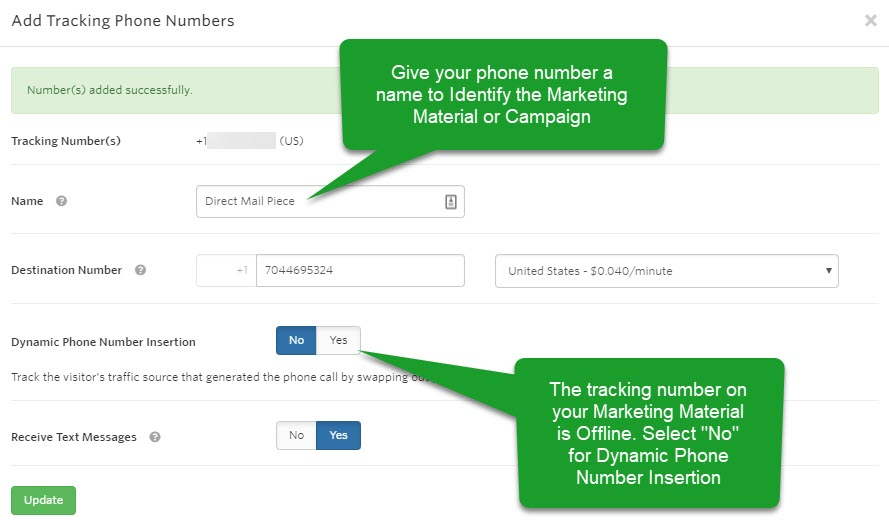 Adding an Offline Tracking Number