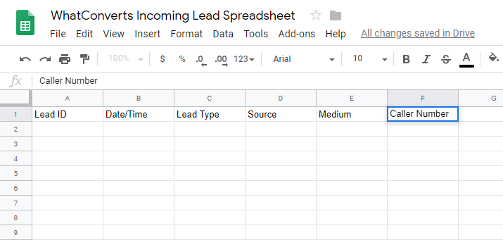 WhatConverts Spreadsheet in Google Drive