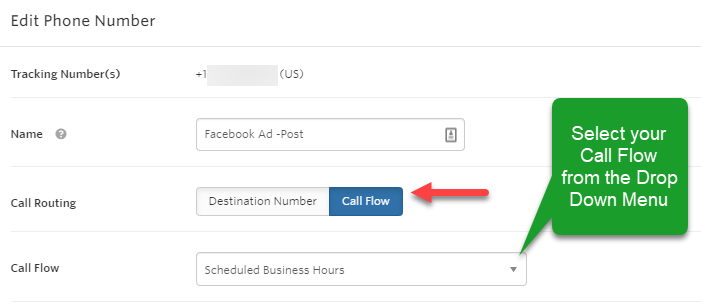 Call flow selections in phone number settings
