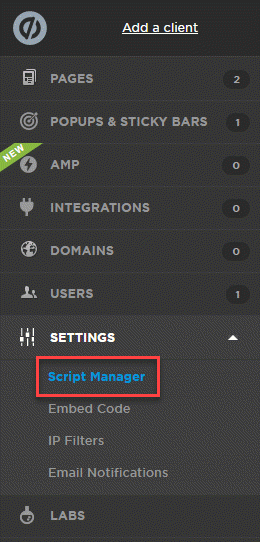 Add a Script to Script Manager in Unbounce