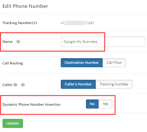 Set up Google My Business Number