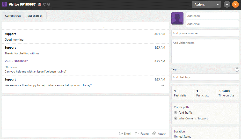 Zendesk Chat Sample Chat
