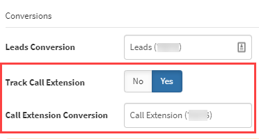 Call Extension Conversion Actoin