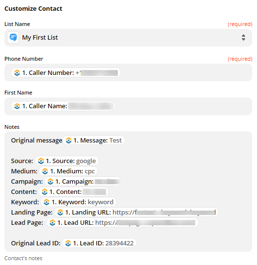 Set up contact in SimpleTexting from WhatConverts
