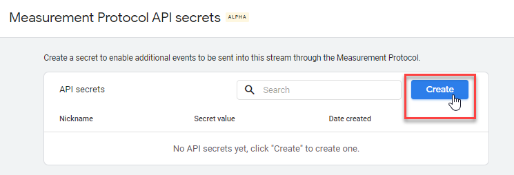 Create a Measurement Protocol API Secret in Google Analytics 4