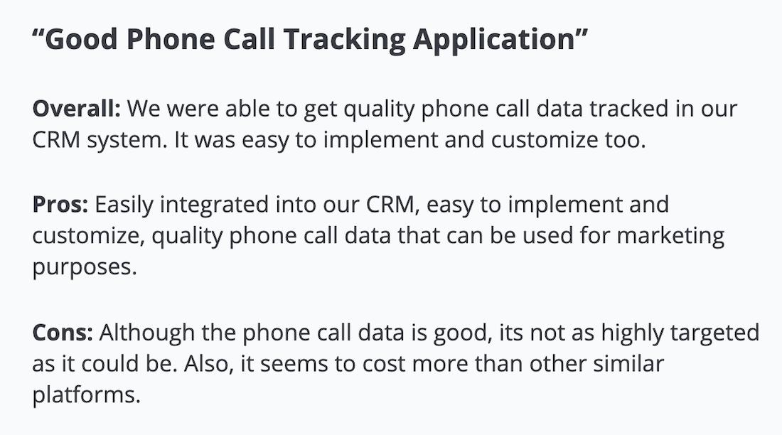"Invoca review: ""Good phone call tracking application"""
